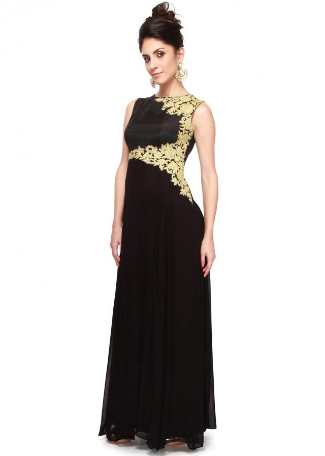 Black jumpsuit adorn in zari embroidery only on Kalki