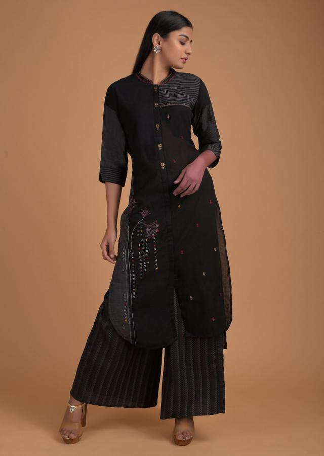Black Kurta Set In Cotton Silk With Thread Embroidered Floral Pattern And Buttis Online - Kalki Fashion