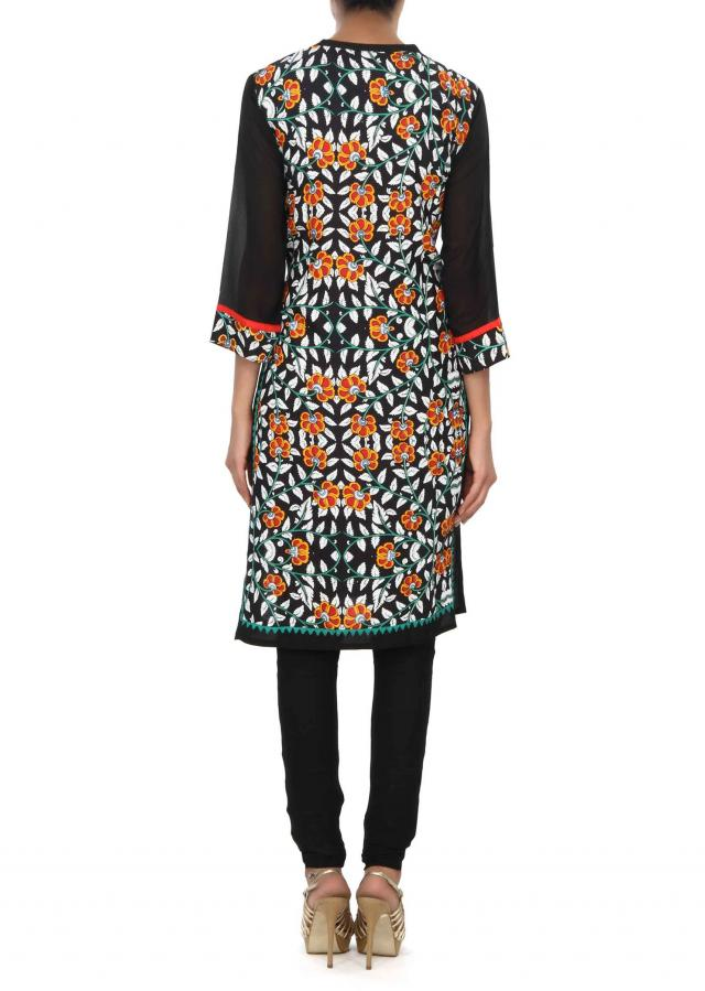 Black kurti embellished in floral print only on Kalki