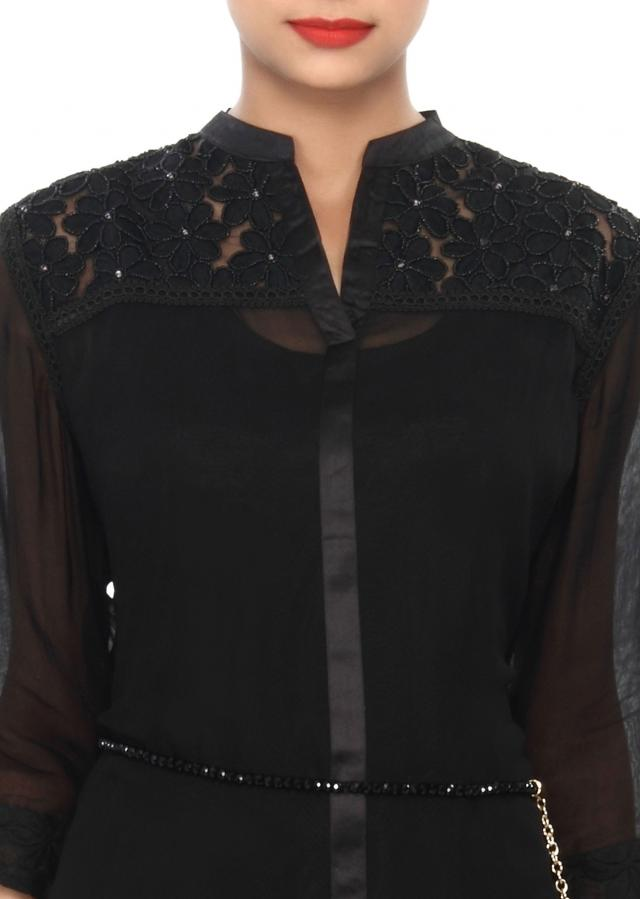 Black kurti embellished in resham and moti embroidery only on Kalki