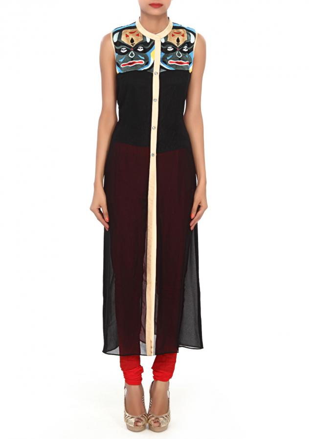Black kurti featuring in resham embroidery only on Kalki
