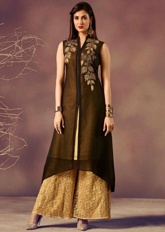 Black kurti in georgette with zari and moti embroidery in leaf motif