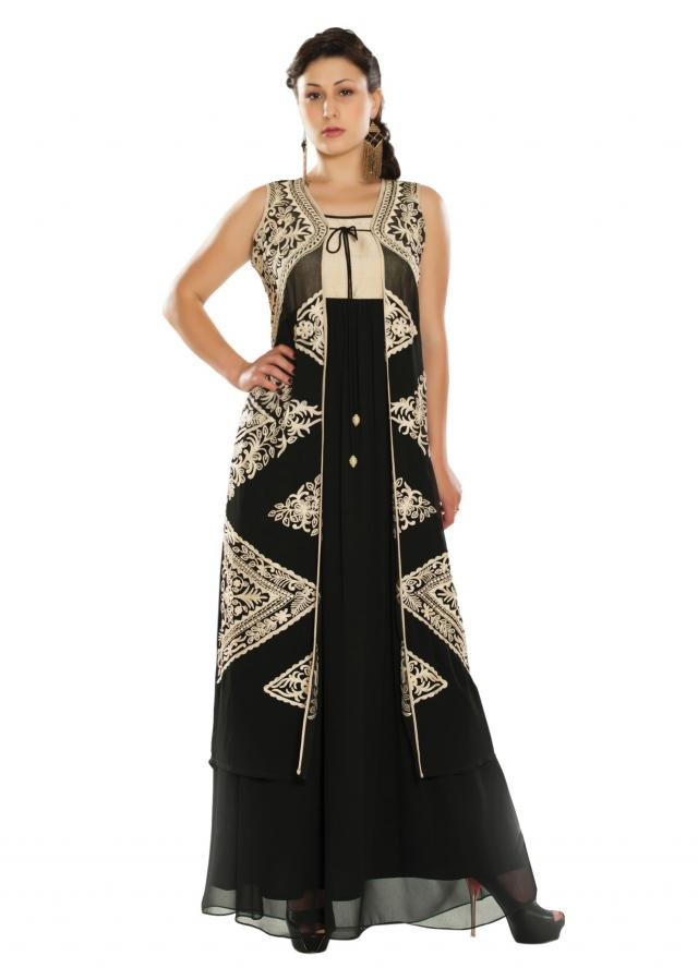 Black kurti matched with embroidered jacket