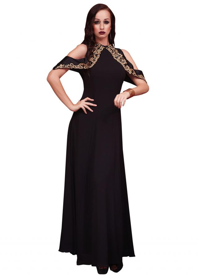 Black long dress with zardosi embroidered cold shoulder