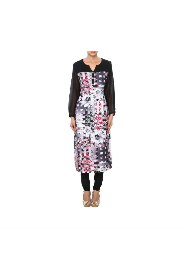 Black printed kurti enhanced in fancy buttons only on Kalki