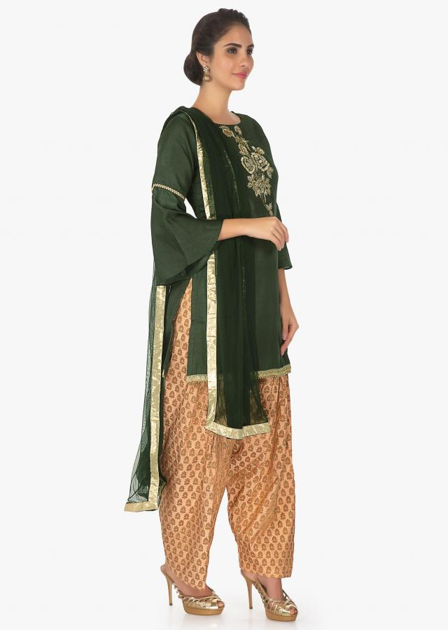 Green Top In Embellished Raw Silk Paired With Beige Weaved Pant And Net Dupatta Online - Kalki Fashion