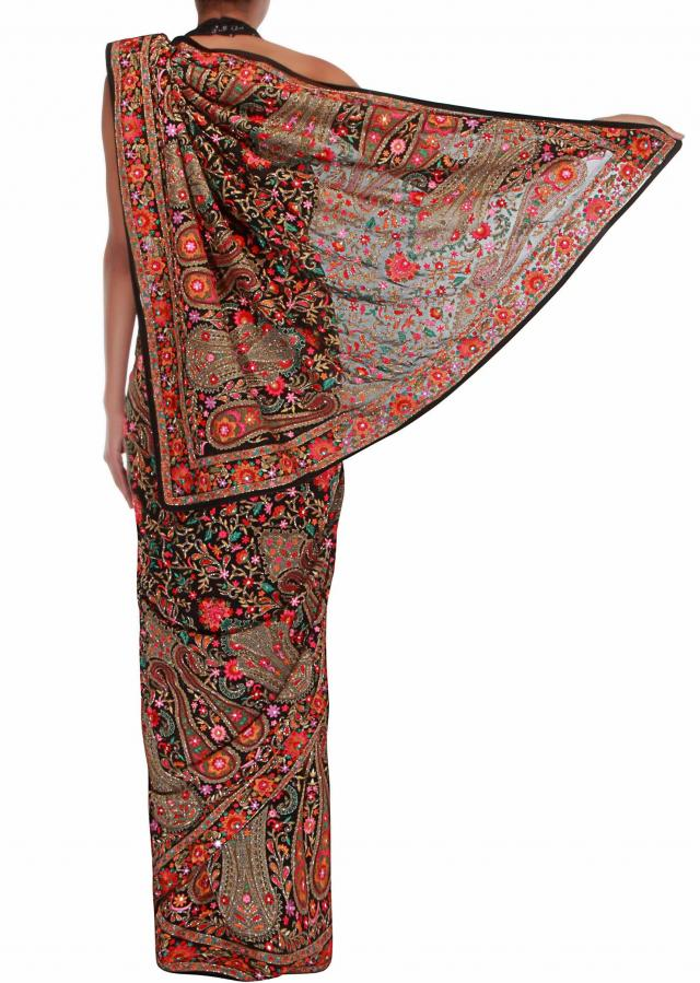 Glorious georgette saree embellished in colourful embroidery only on Kalki