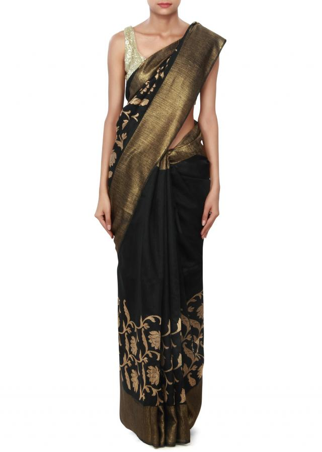Black saree featuring in weave embroidery only on Kalki