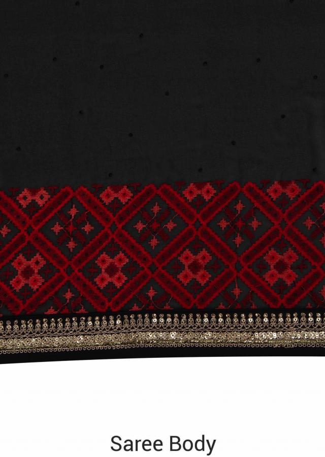 Black saree in resham embroidered border only on Kalki