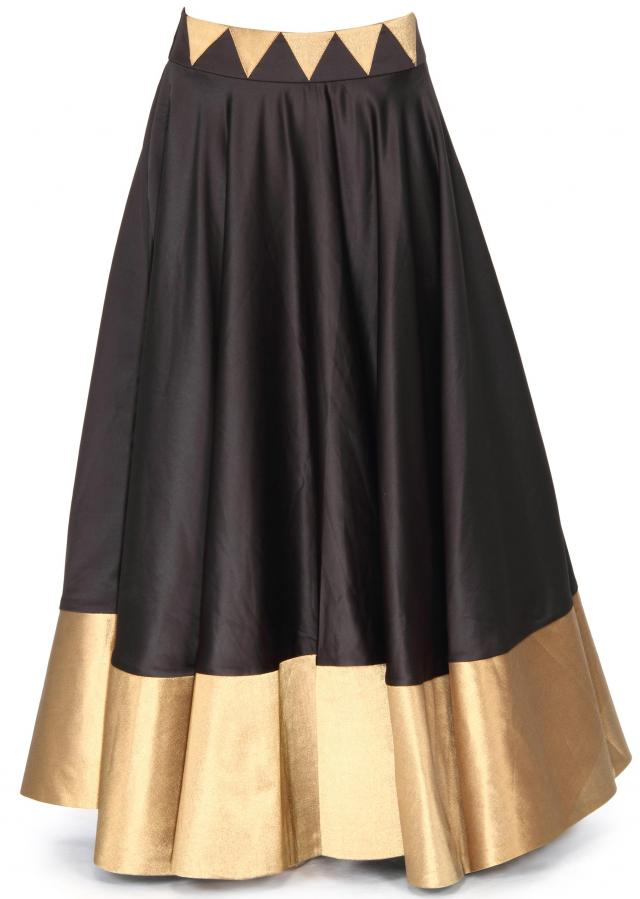 Black skirt matched with velvet crop top only on Kalki