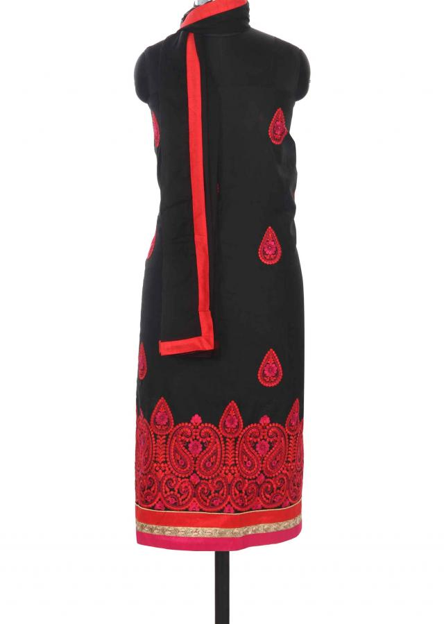 Black unstitched suit embellished in paisley motif work only on Kalki