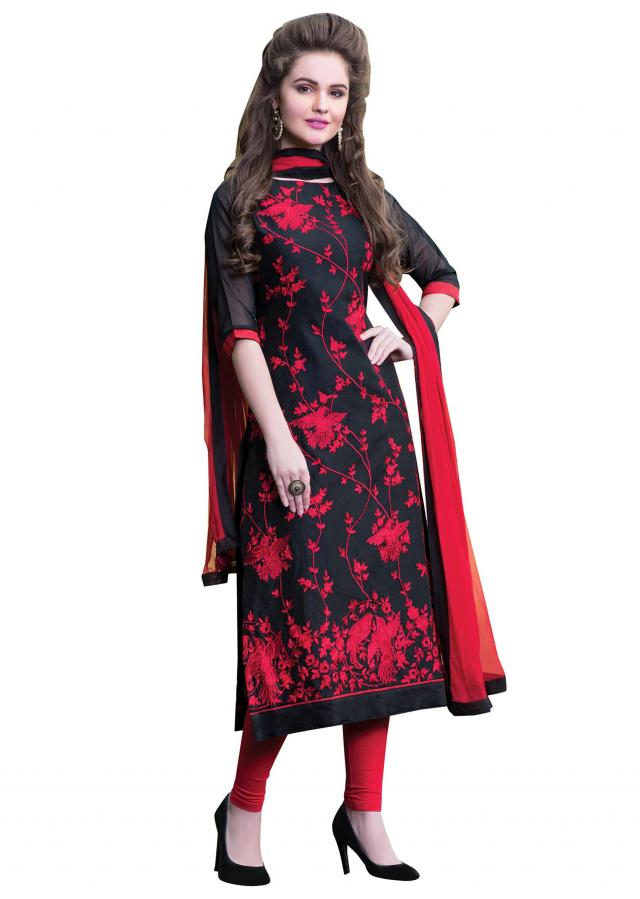 Black unstitched suit featuring in resham embroidery