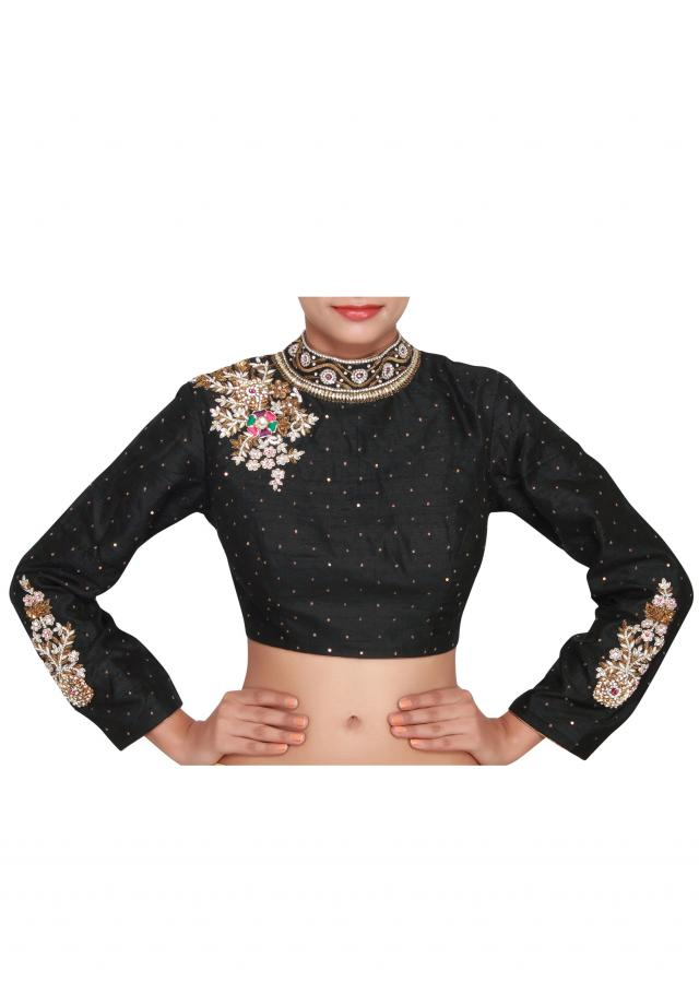 Black blouse featured in raw silk, embelllished with zardozi work only on Kalki