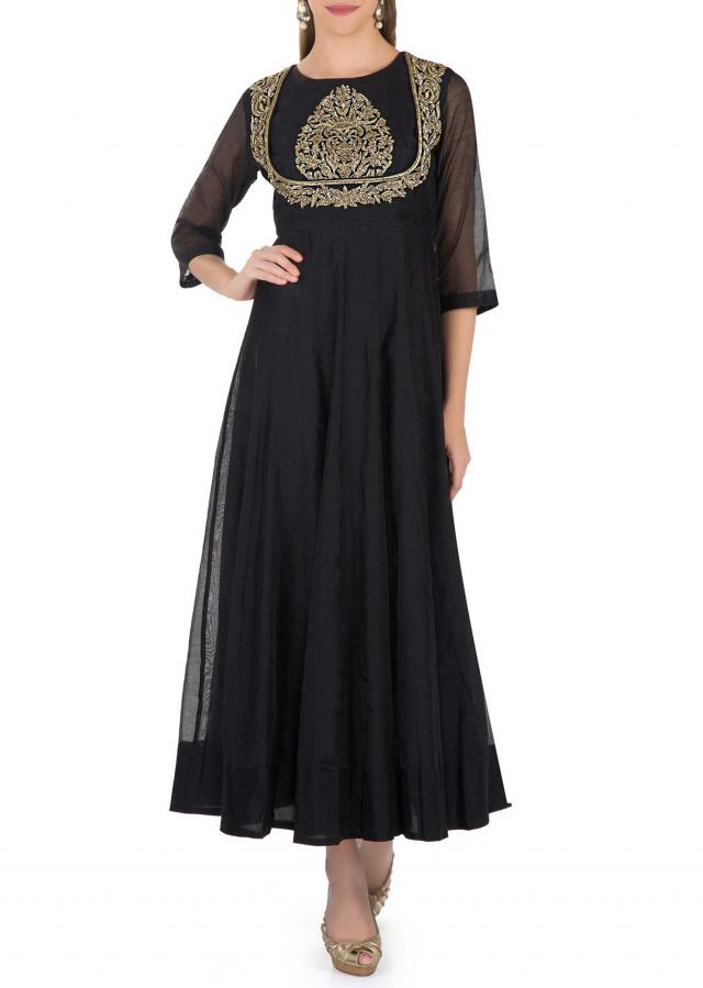 Black Cotton Top Crafted with Zardosi and Sequins and Net Dupatta only on Kalki