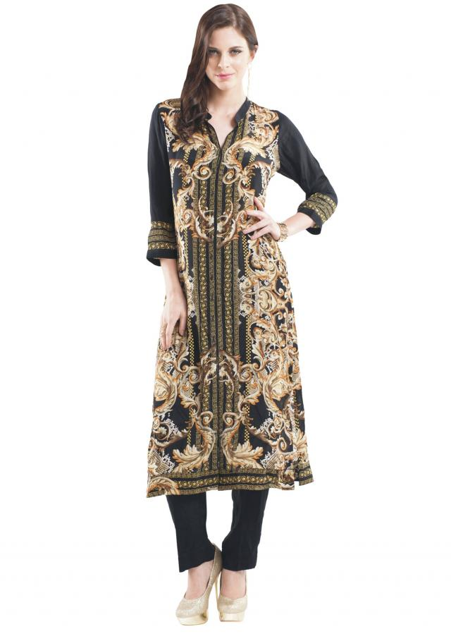 Black digital printed kurti enhanced in kundan embroidery