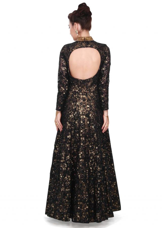 Black gown embroidered in thread with sequin layeronly on Kalki