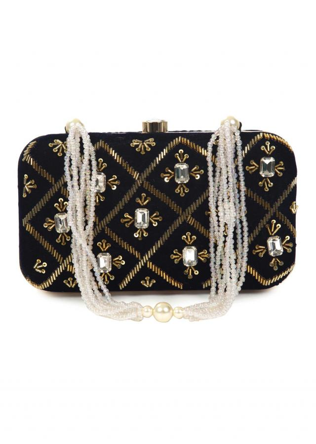 Black hand embroidered capsule clutch