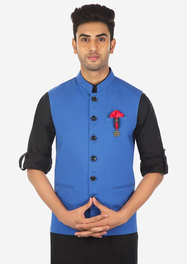 Black Kurta, Aligarhi Pajama and Blue Vest Coat Set Only on Kalki