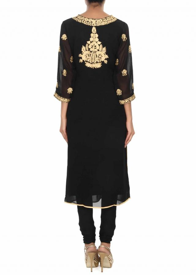 Black kurti embellished in aari embroidered butti only on Kalki