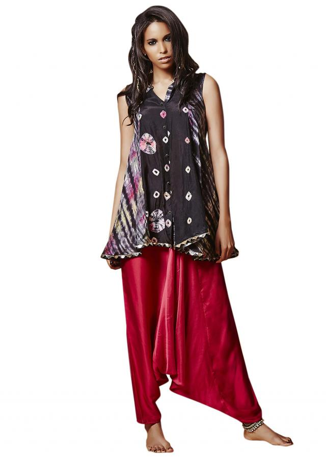 Black shibori tunic matched with red aladdin pant only on Kalki