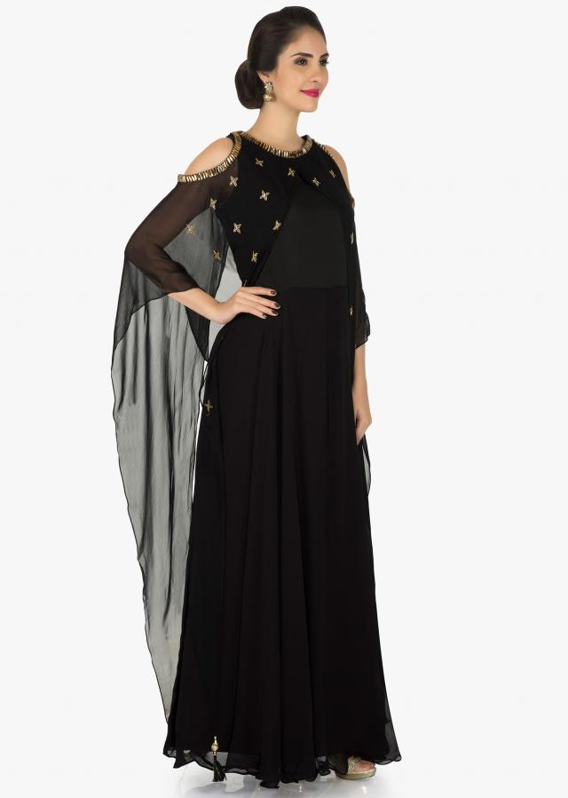 Black tunic with fancy cape adorn in heavy stones and cut dana work only on Kalki