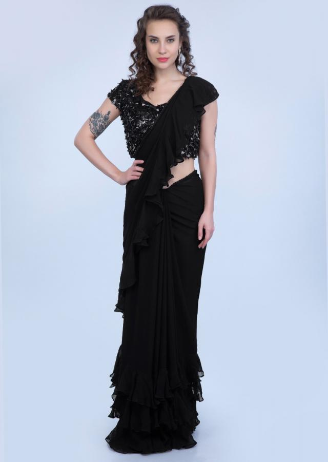 Blazing Black Georgette Saree With Ruffled Hem And Pallu Online - Kalki Fashion