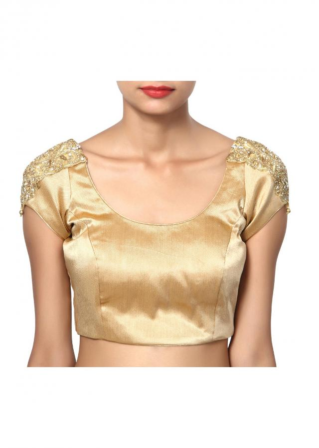 Bling gold studded sleeves in round neck
