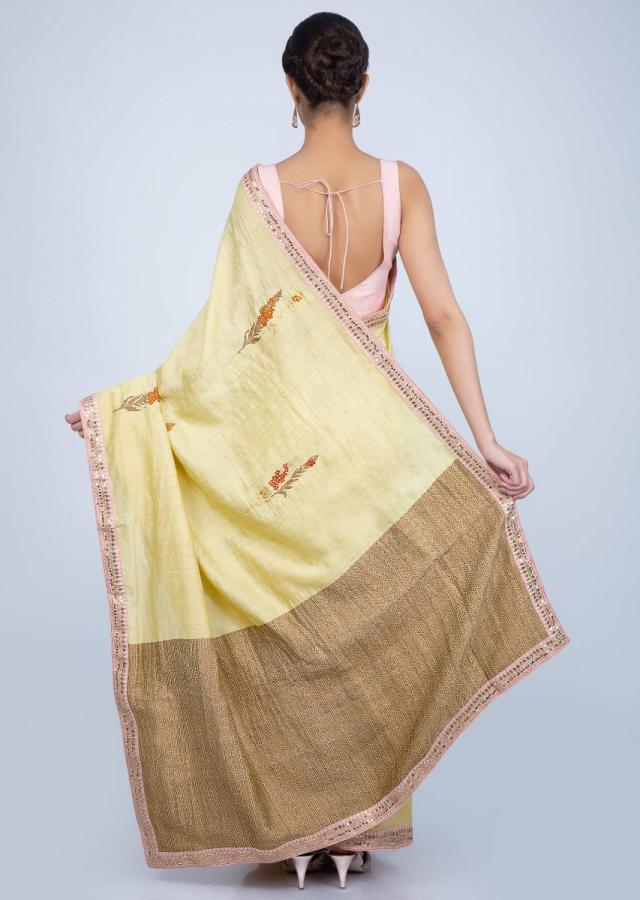 Blond Yellow Saree In Dupion Silk With Floral Weaved Butti And Border Online - Kalki Fashion