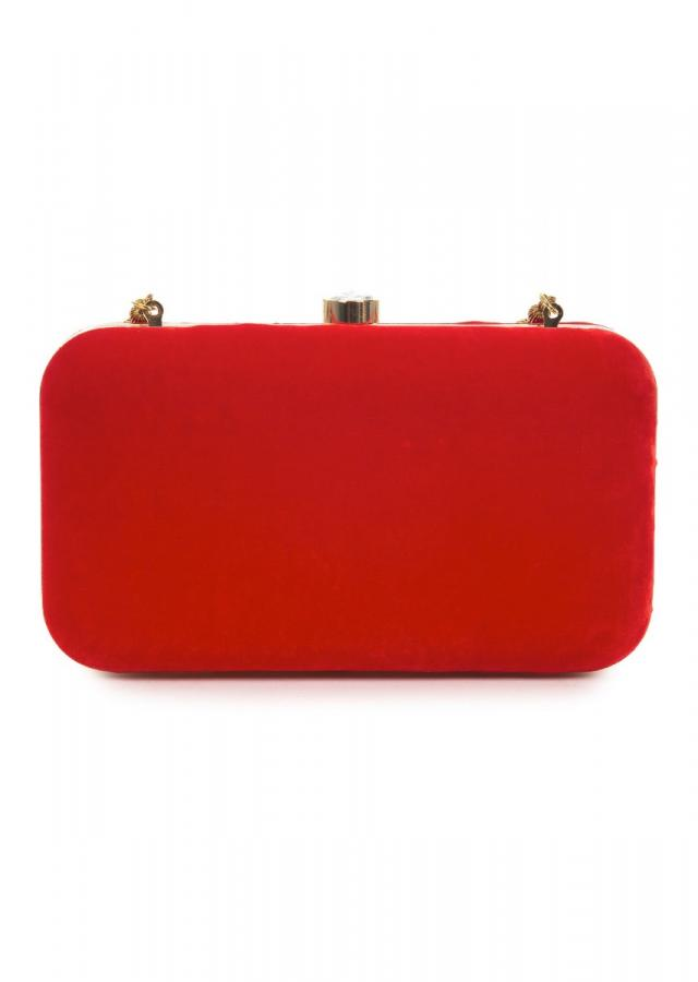 Blood red rectangular clutch adorn in floral embroidery