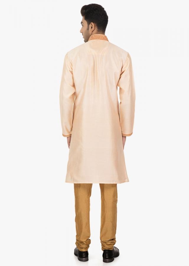 Blossom peach silk kurta and Sandal brown PS silk chudidar set only on kalki