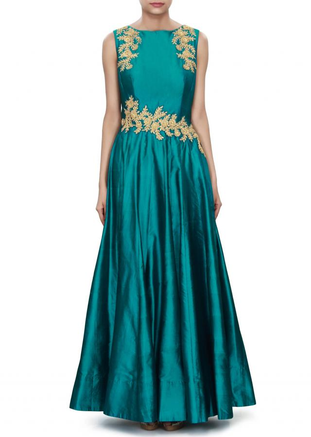 Blue anarkali suit adorn in embroidered bodice only on Kalki