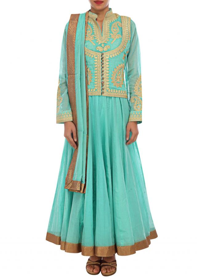 Blue anarkali suit adorn in zari embroidery in paisley motif only on Kalki