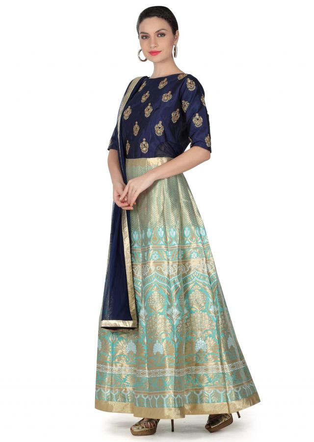 Blue anarkali suit with embroidered bodice only on Kalki