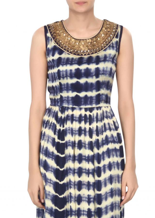 Blue and cream kurti embellished in sequin embroidery only on Kalki