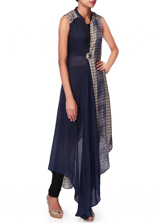 Blue and cream printed kurti with fancy stone only on Kalki