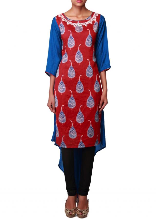 Blue and red kurti with leaf printed butti all over only on Kalki