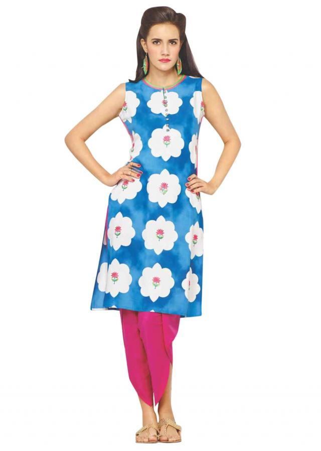 Blue and white printed kurti adorn in floral embroidery only on Kalki