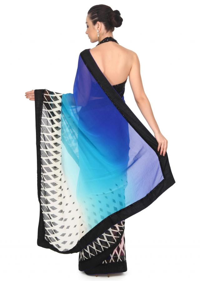 Blue and white shaded saree in argyle print only on Kalki