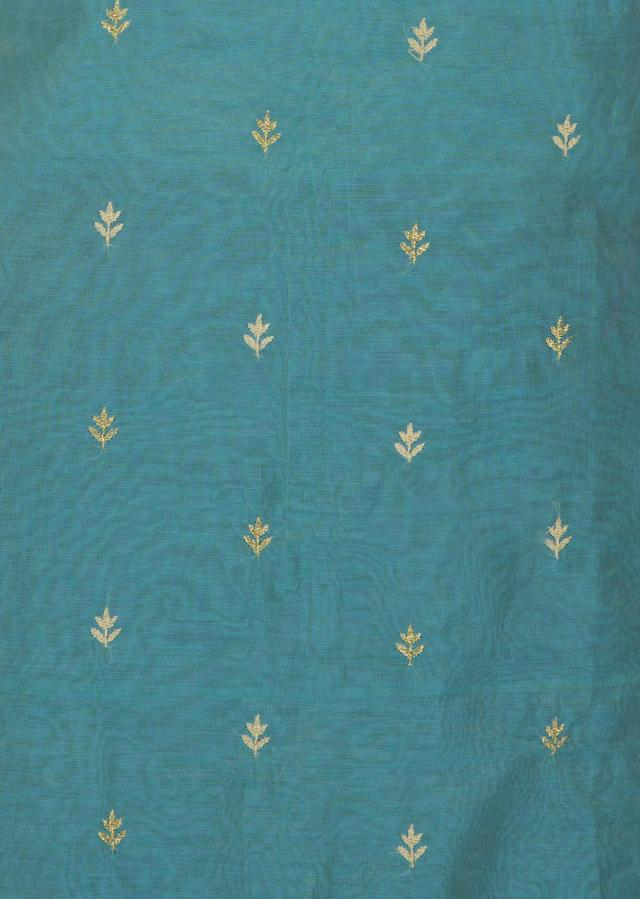 Blue cotton silk unstitched suit embellished with thread work only on Kalki