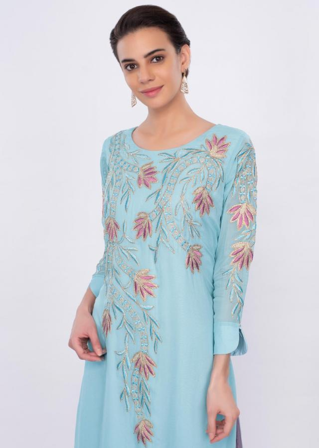 Blue georgette tunic dress with floral embroidery only on Kalki