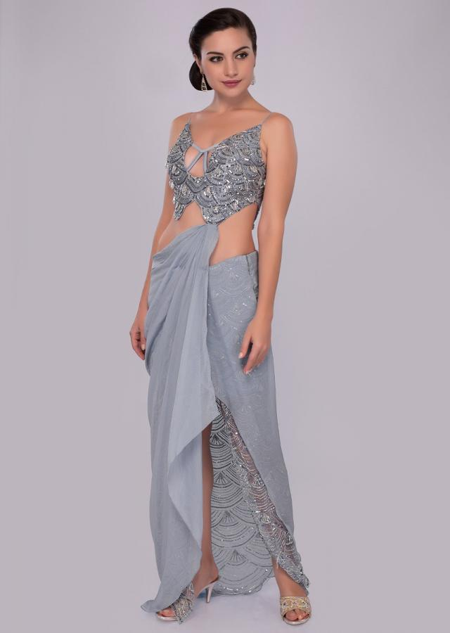 Blue heather fancy saree gown with side slit drape and attached pallo only on Kalki