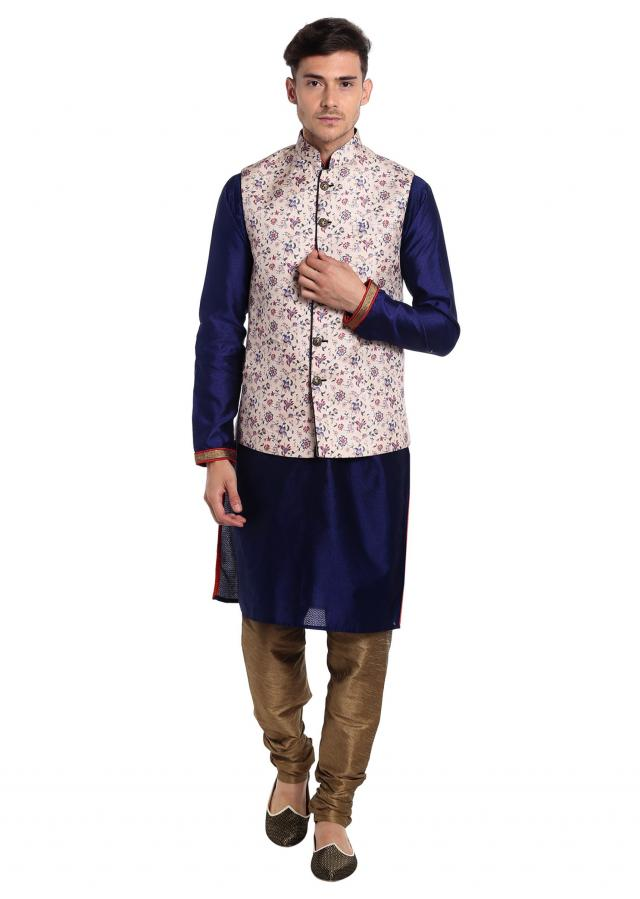 Blue Jacquard Silk kurta with Printed Cream Cotton Waistcoat Only on Kalki
