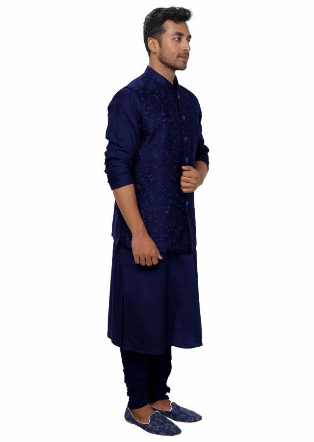 Blue Kurta & Churidar With A Blue Floral Threadwork Embroidered Nehru Jacket Set Online - Kalki Fashion