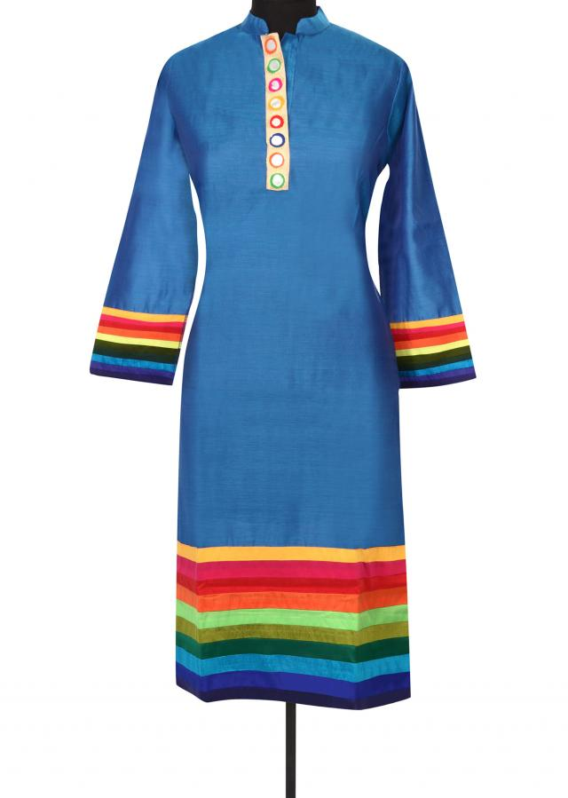 Blue kurti with mirror embellished placket only on Kalki