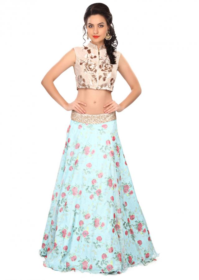 Blue lehenga embellished in sequin and floral print only on Kalki