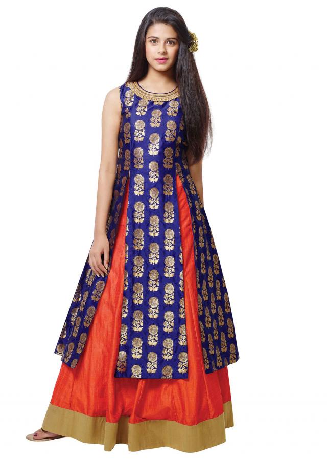 Blue long brocade blouse with orange lehenga