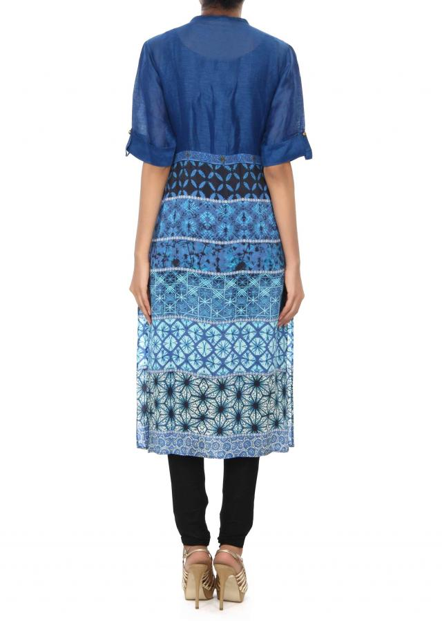Blue printed kurti enhanced in pleats only on Kalki