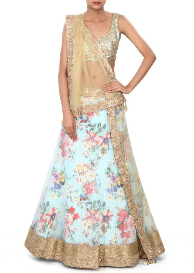 Blue printed lehenga adorn in zari border only on Kalki