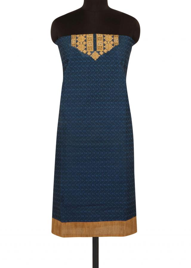 Blue unstitched suit in embroidered placket only on Kalki