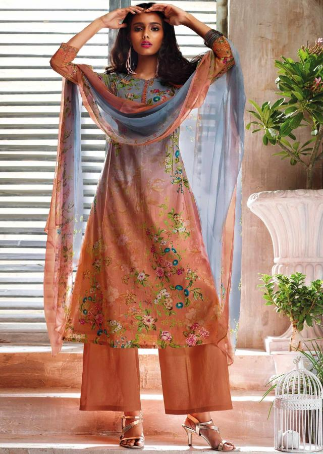 Blue and peach shaded unstitched printed suit with ready neckline